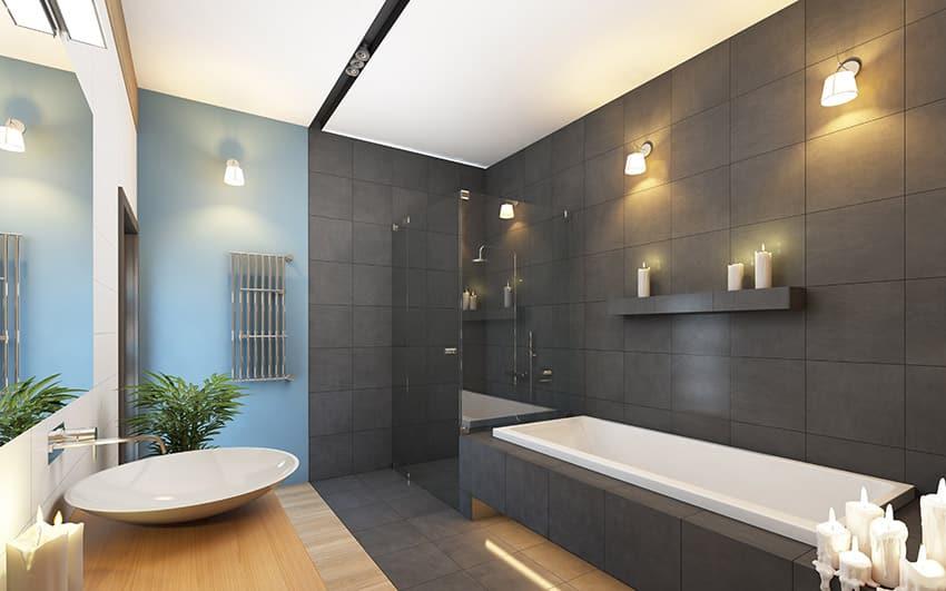 beautiful-grey-bathroom-contemporary-design-with-vessel-sink
