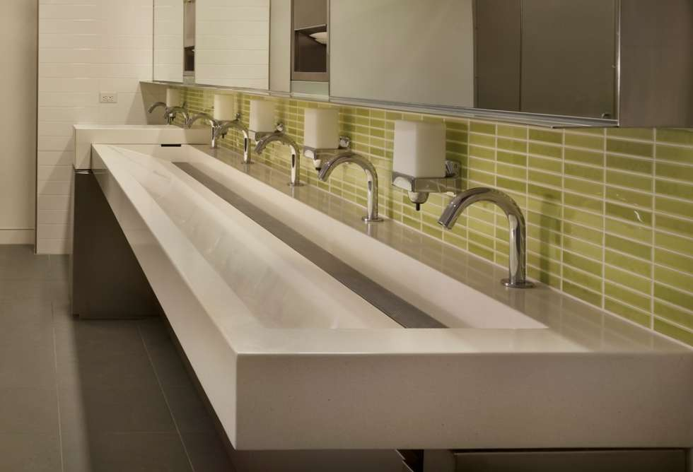 extra-large-trough-sink-with-multiple-taps-and-green-tiles-backsplash
